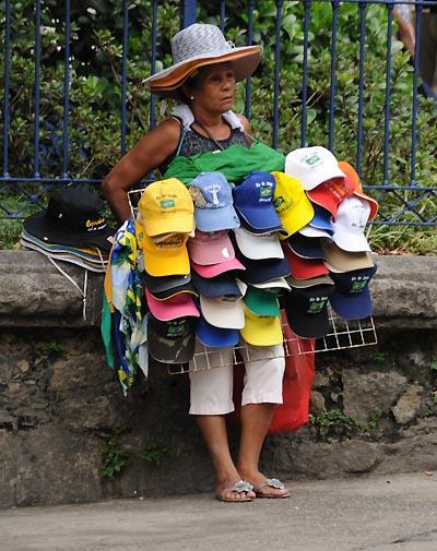 brazil, rio de janeiro, street hat vendor