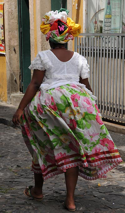 brazil, salvador, colorful bahian dress
