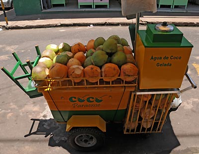 brazil, santarem, coconut water vendor