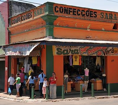 brazil, santarem, colorful storefront