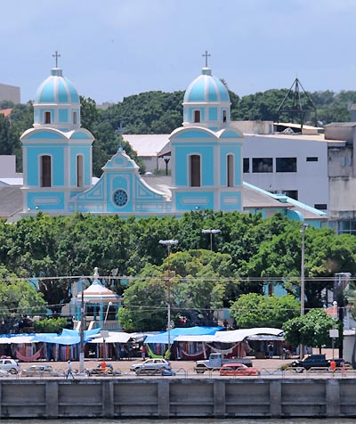 brazil, santarem, colorful catholic cathedral