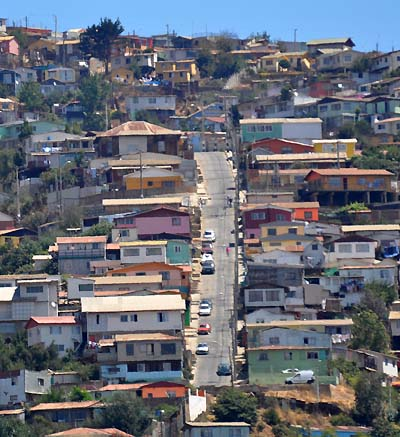 chile, valparaiso, hilly neighborhood