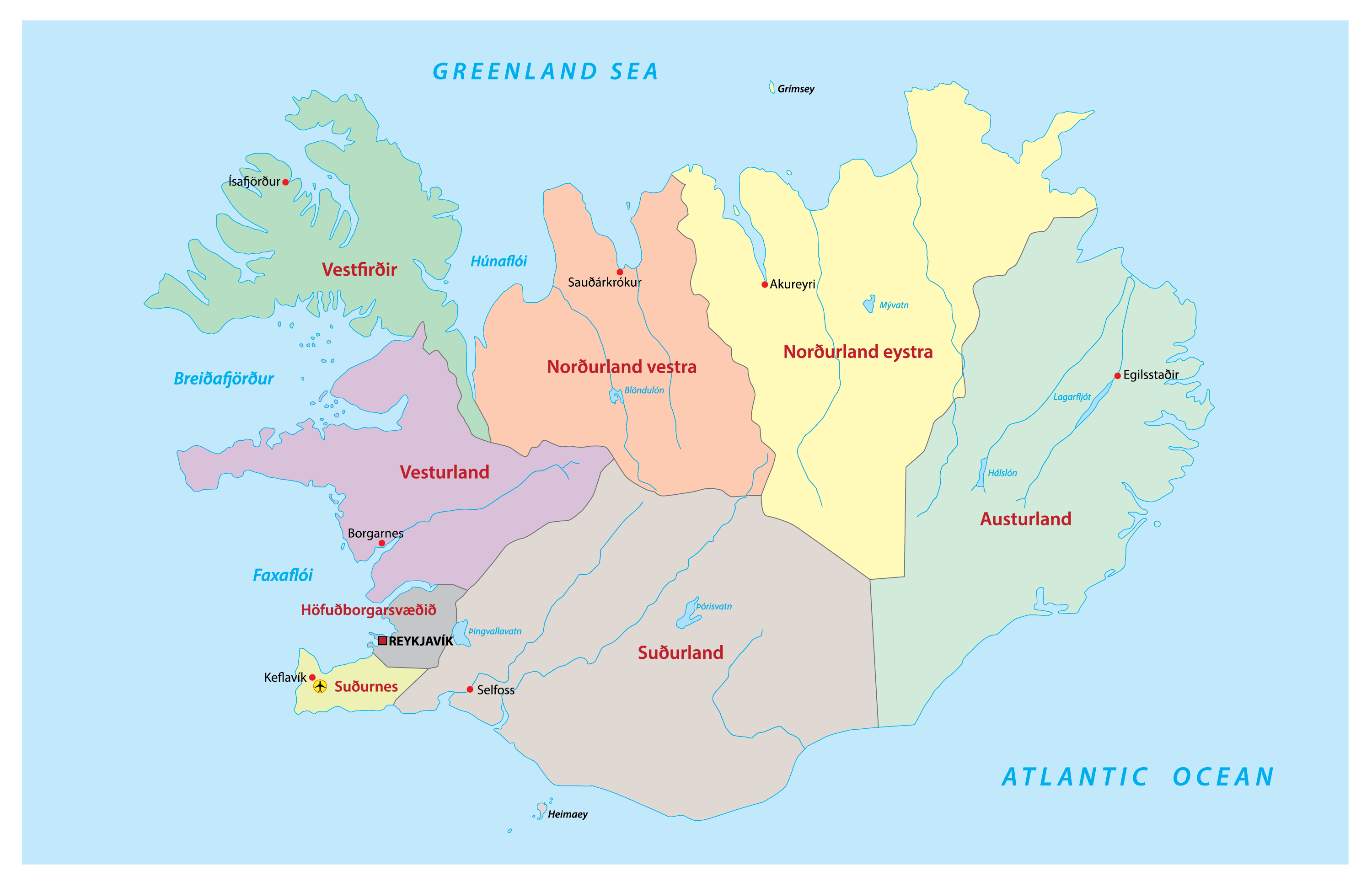 Political Map of Iceland showing regions of Iceland, made with the blank map of municipall boundaries in Iceland. The enclosed white areas are glaciers, and not divided into municipal regions. Image credit: Wikimedia.org