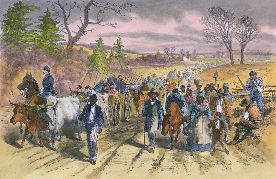 Freed slaves escaping to the Union Army lines after the Emancipation Proclamation.