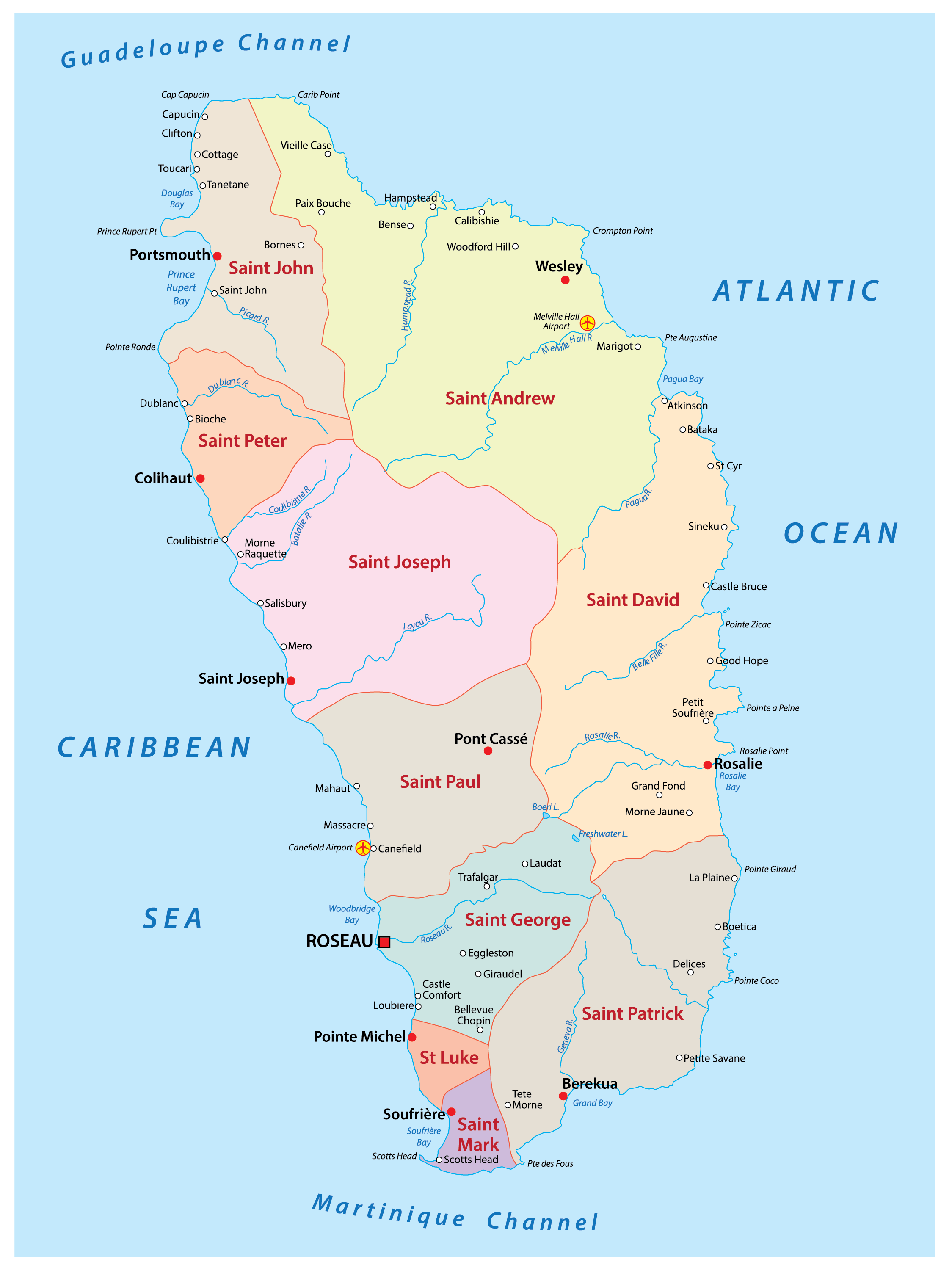 Political Map of Dominica showing its 10 parishes and the capital city of Roseau.