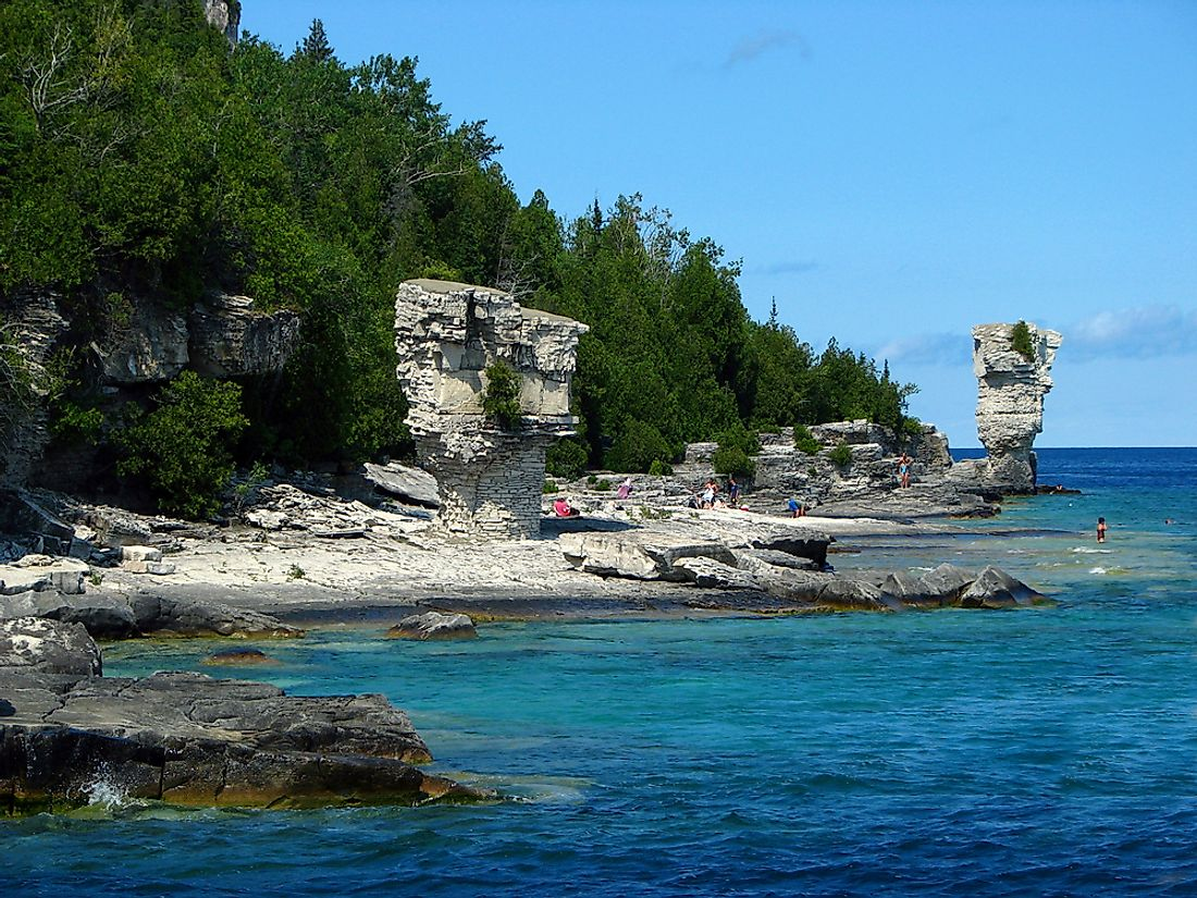 Flowerpot Island is named for two sea stacks thought to resemble flowerpots.