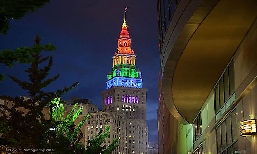 Cleveland's Terminal Tower illuminated in rainbow colours is the second tallest building in Ohio.