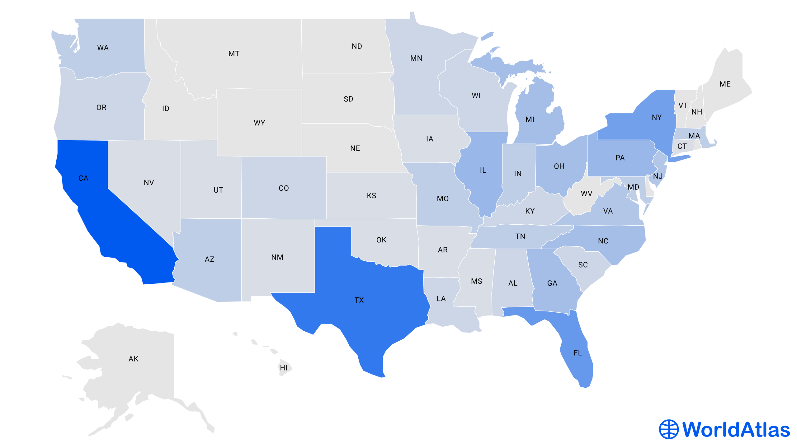 Infographic: a heat map of the population of the 50 US states.