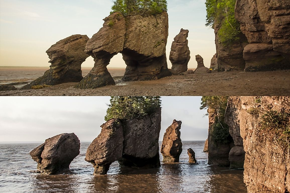 Bay of Fundy at low tide (top) and high tide (bottom).