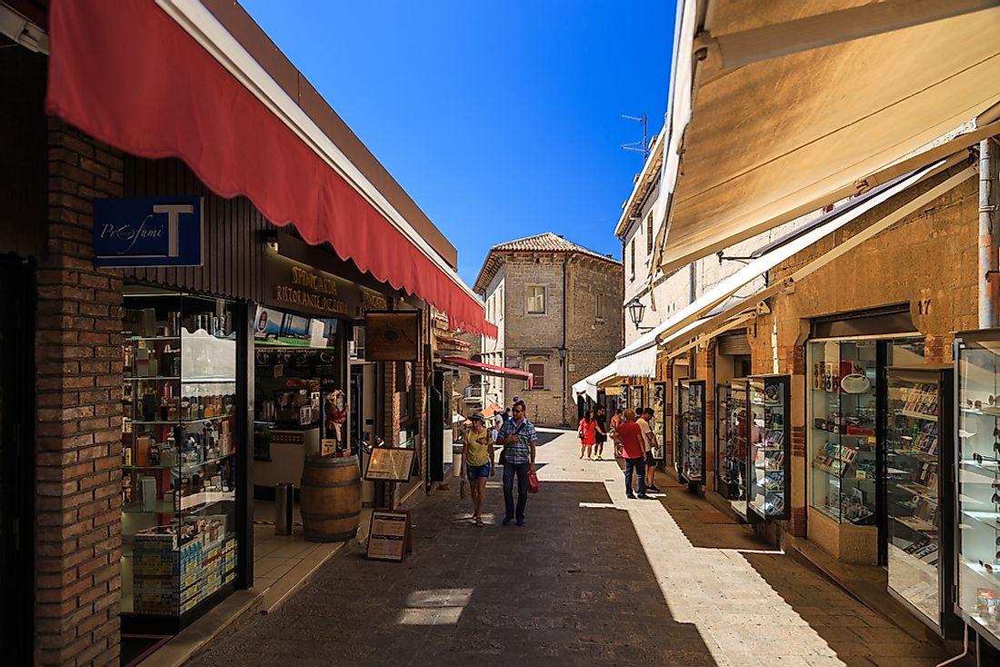 A street in San Marino, one of the world's least populated countries. Editorial credit: SimoneN / Shutterstock.com.