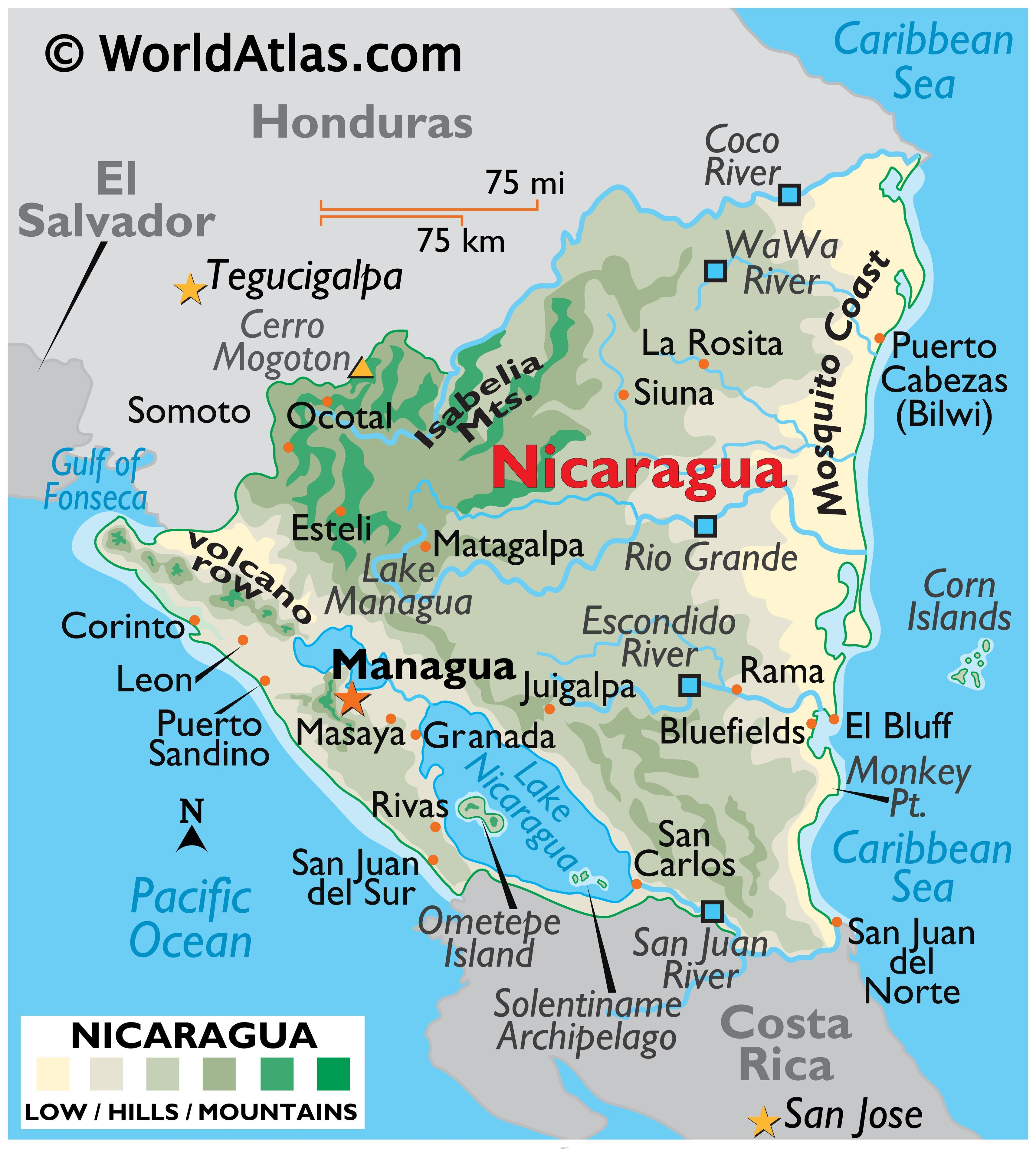 Physical Map of Nicaragua showing terrain, mountains, extreme points, Mosquito coast, volcanoes, rivers, lakes, major cities, international boundaries, etc.