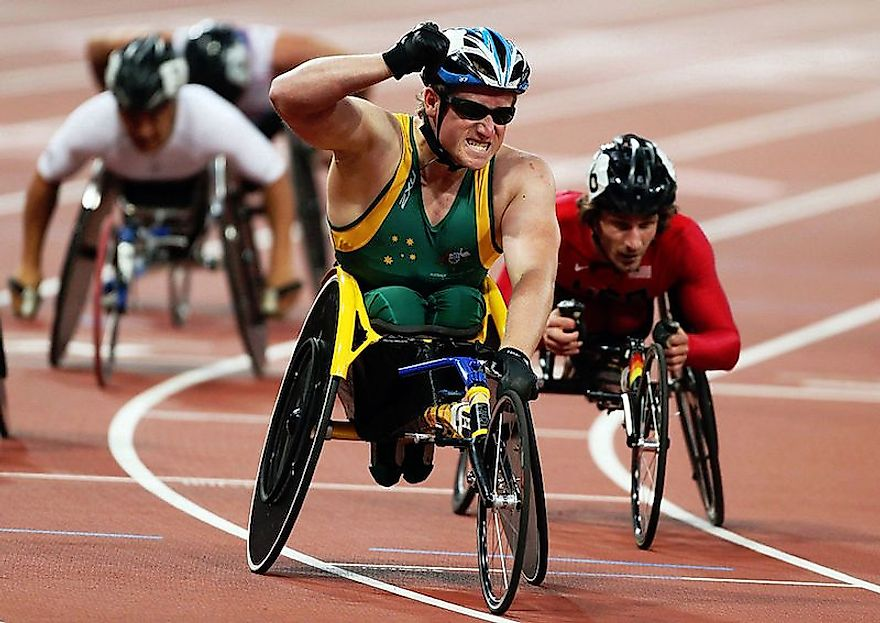 The Australian Paralympian Richard Colman (at the front) on the verge of winning at the 2012 Summer Paralympic Games in London
