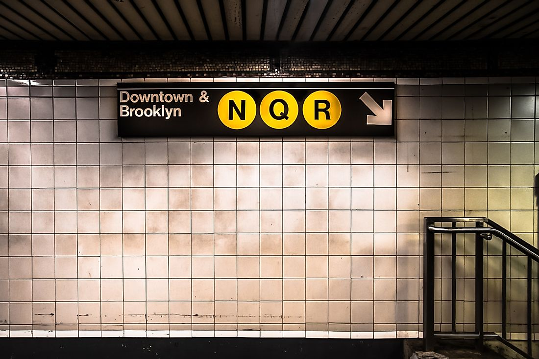 The New York city subway has more stations than any other mass transportation metro system. Editorial credit: littlenySTOCK / Shutterstock.com.