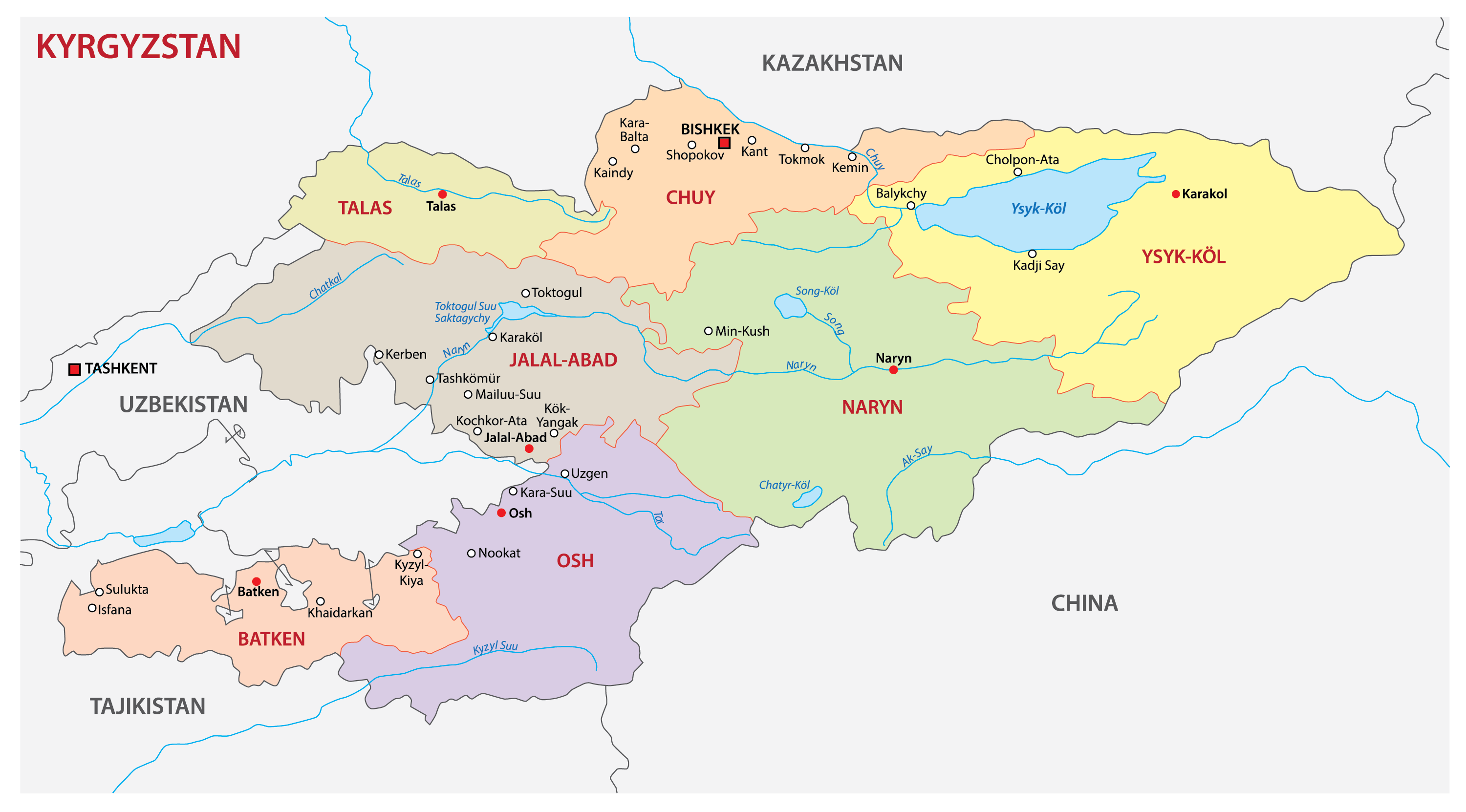 Political Map of Kyrgyzstan showing the 7 regions, their capital cities, and the national capital of Bishkek.