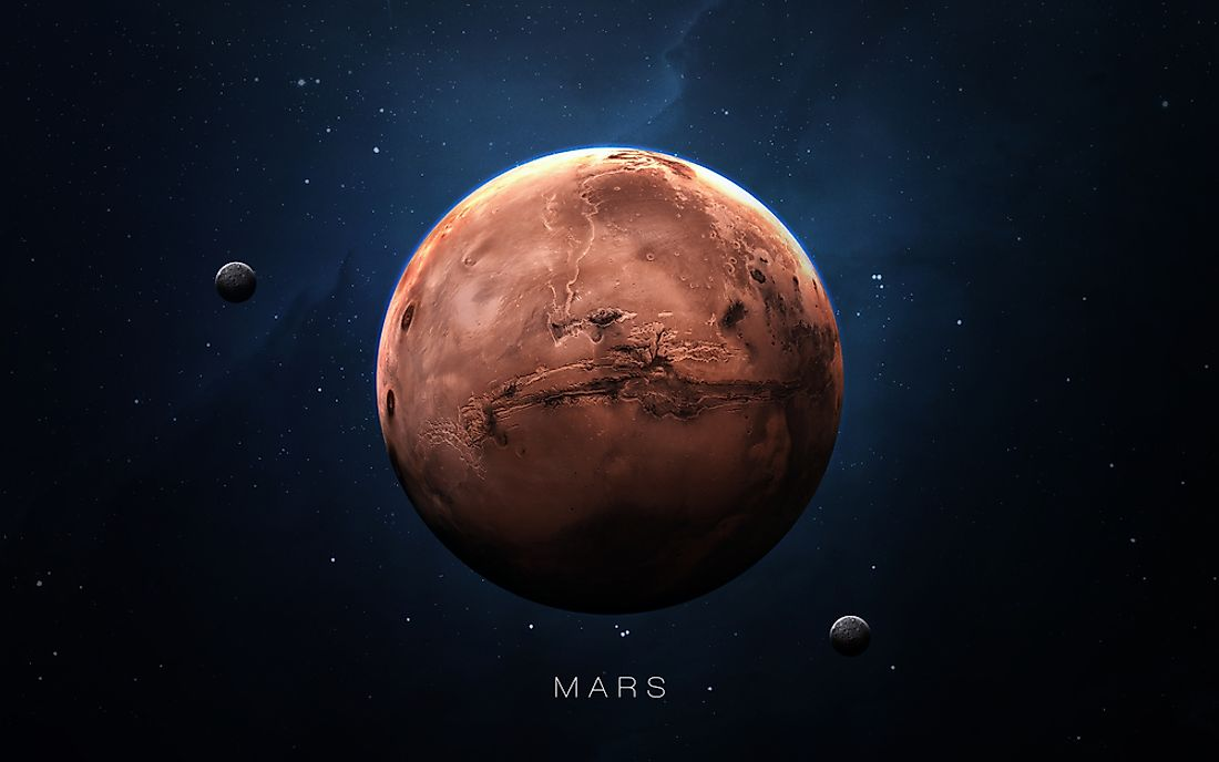 A 3D rendering showing Mars with both of its moons.