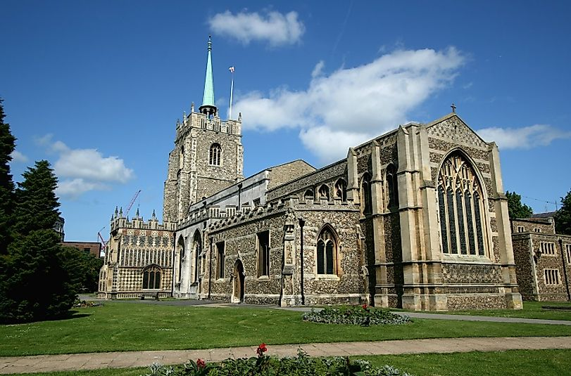 Chelmsford Anglican Cathedral in Chelmsford, Essex, England, dedicated to the Saints Mary the Virgin, Peter, and Cedd.