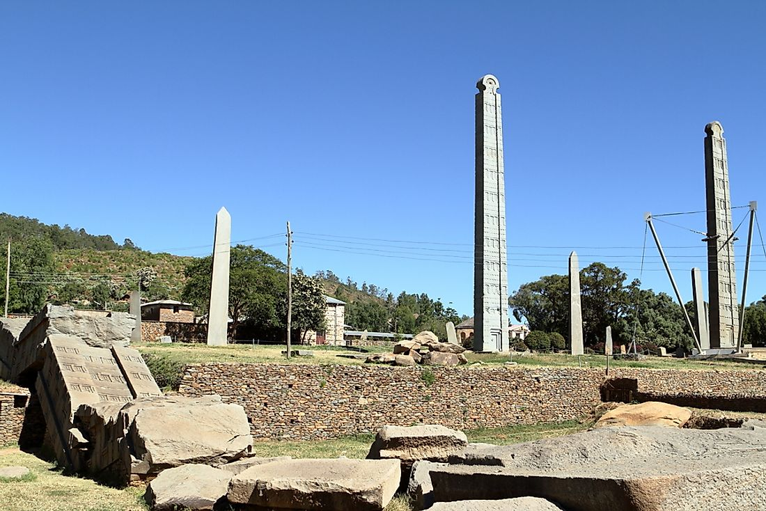 Ancient stelae are seen here in Aksum, Ethiopia, one of the country's World Heritage Sites.