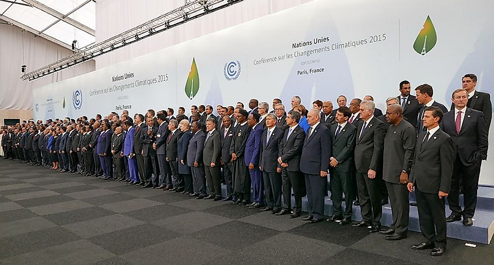 National environmental delegation heads from around the world in Paris for the climate change convention in 2015.