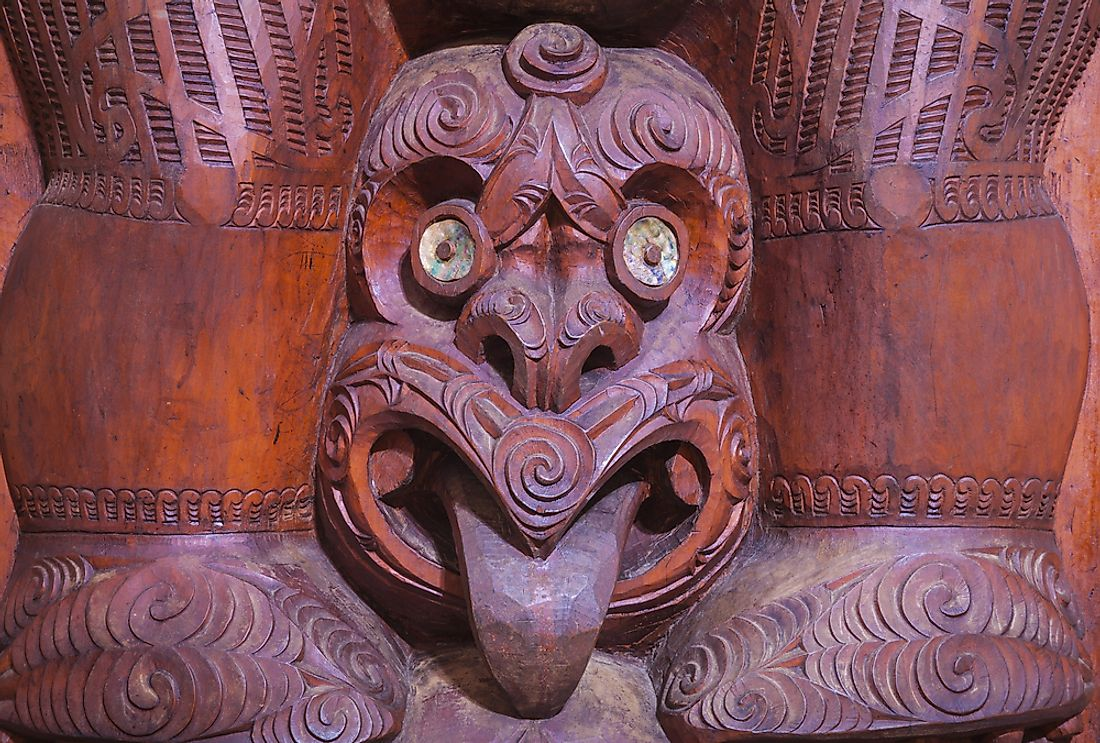 A Maori carving in New Zealand.