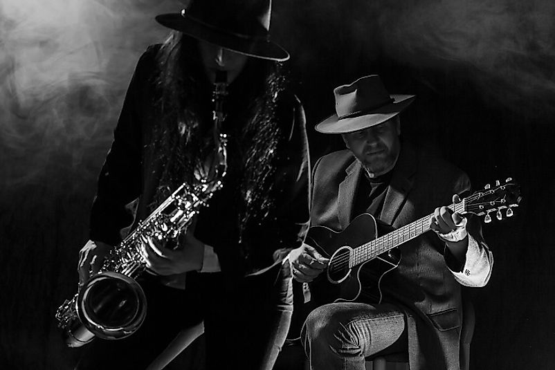 Guitars and saxophones are often featured front and center in Blues music.
