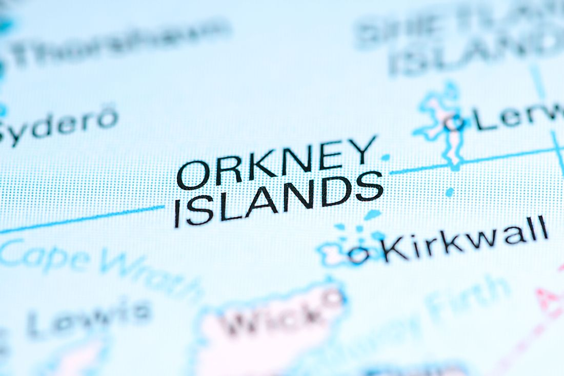 A map showing the Orkney Islands, one of the archipelagos of Scotland.