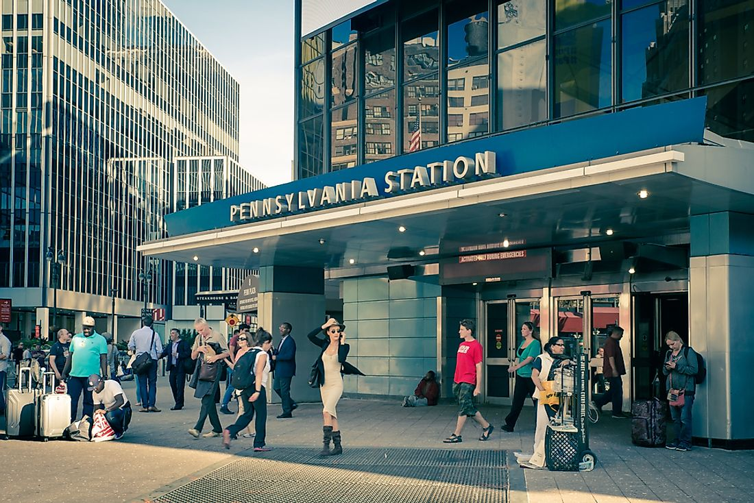 Penn Station is the busiest railway station in the US by passenger volume. Editorial credit: littlenySTOCK / Shutterstock.com.