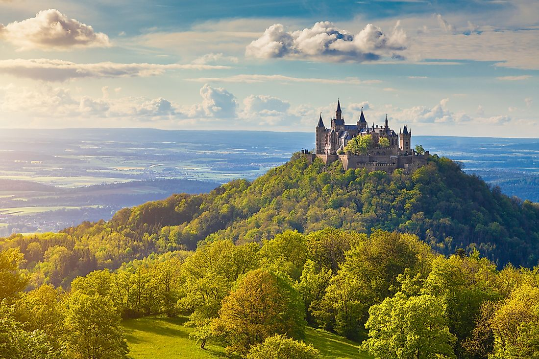 Hohenzollern Castle, in Germany, is an example of a castle.