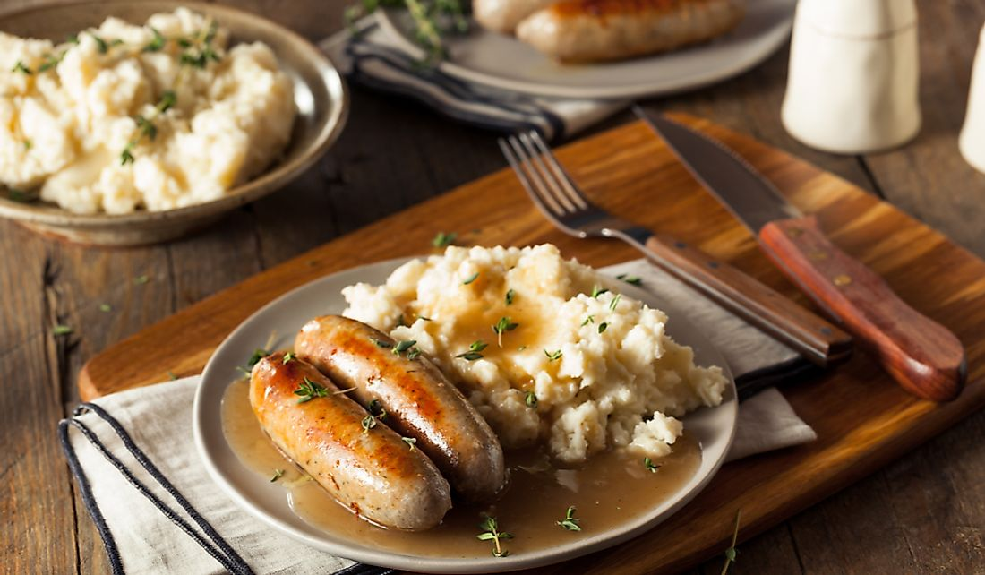 Bangers and mash is a popular dish in England.