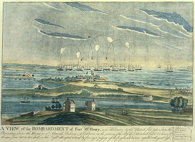An artist's rendition of the bombardment of Fort McHenry during the Battle Of Baltimore.