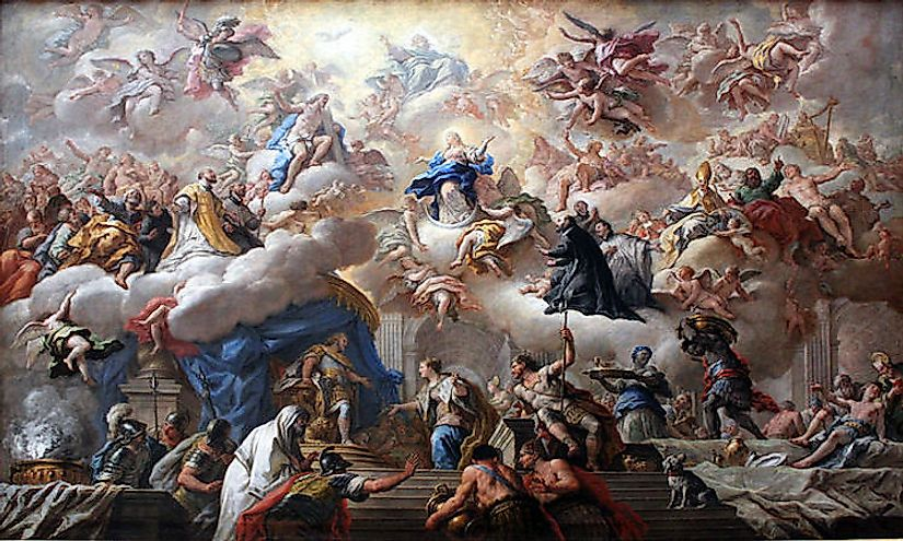 The Triumph of the Immaculate by Paolo de Matteis, a painting produced during the Baroque Art Movement
