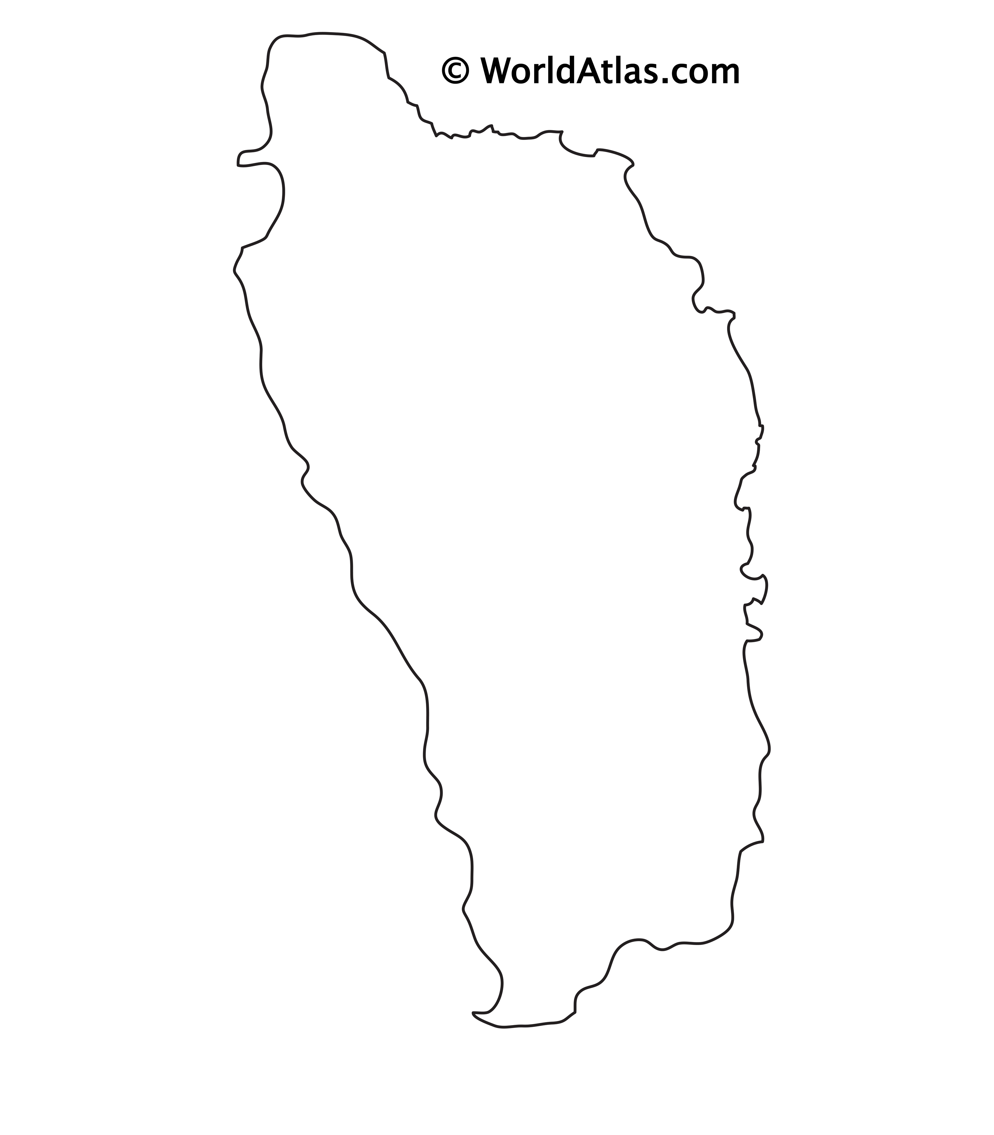 Blank outline map of Dominica