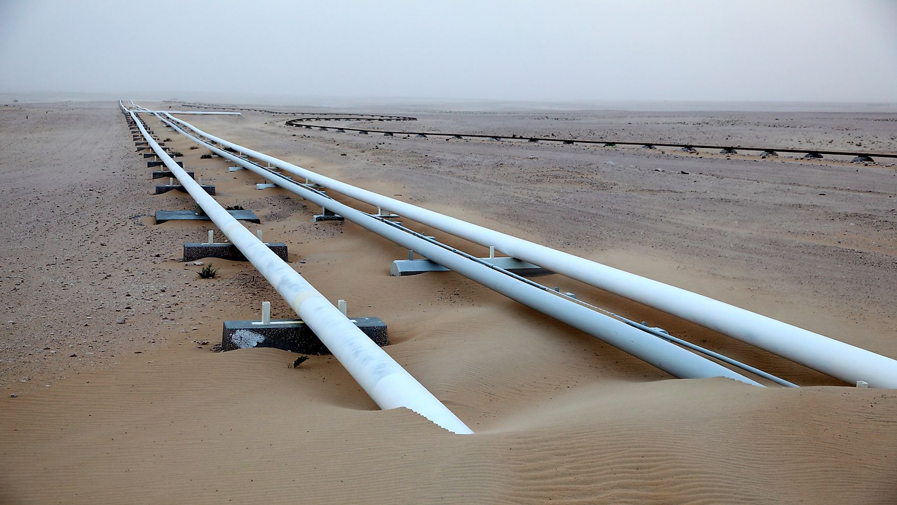 Oil pipeline in the desert of Qatar.