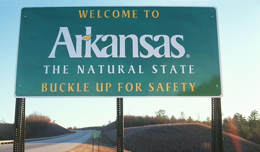 Welcome sign at the Arkansas border.