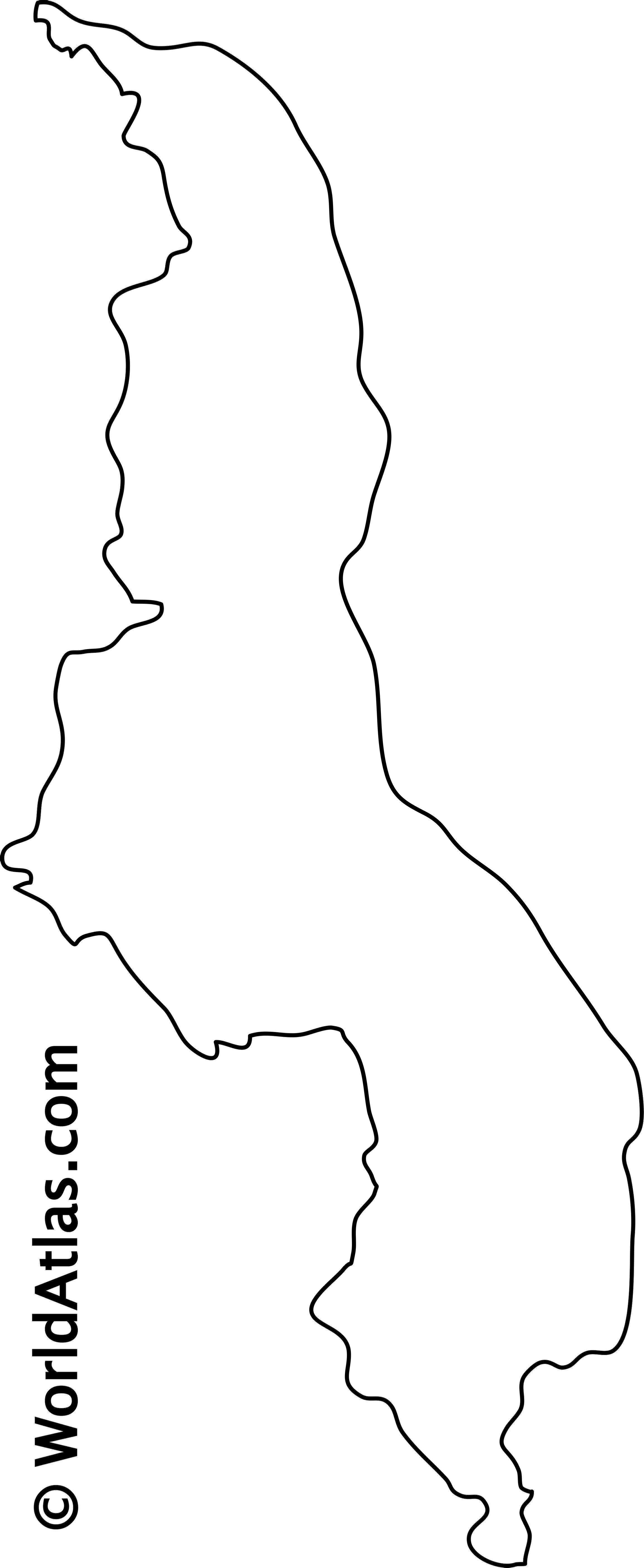 Blank Outline Map of Malawi