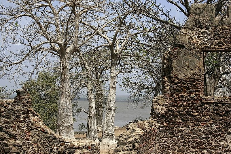 Ruins of the fort on Kunta Kinteh Island amidst the waters of the Gambia River.