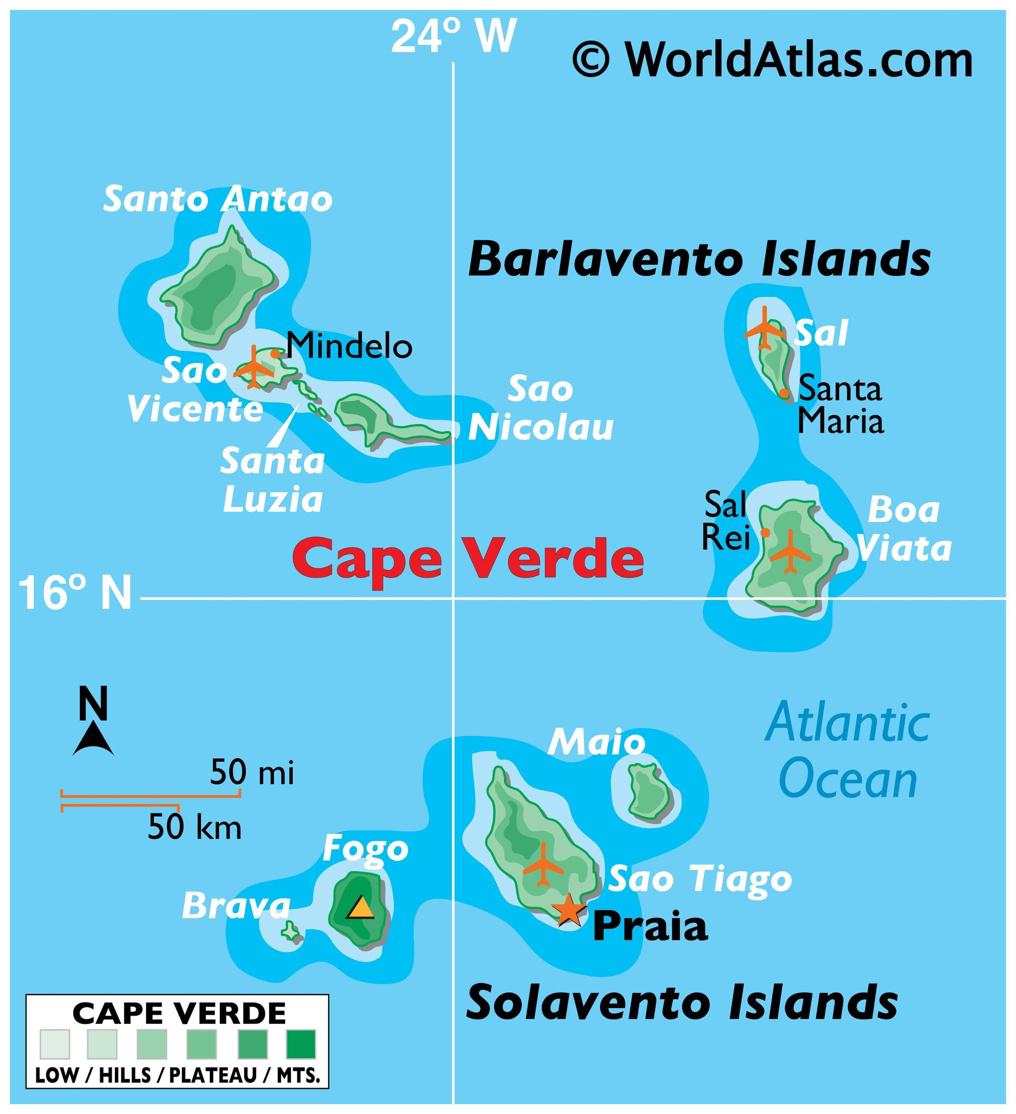 Physical Map of Cape Verde showing major islands, highest point, terrain, major settlements, and more.