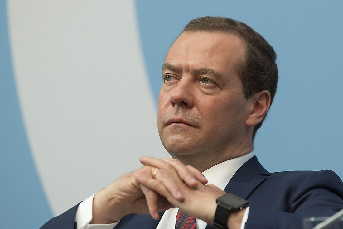 Dmitry Medvedev is the current sitting Prime Minister of Russia. Editorial credit: Anton Veselov / Shutterstock.com.