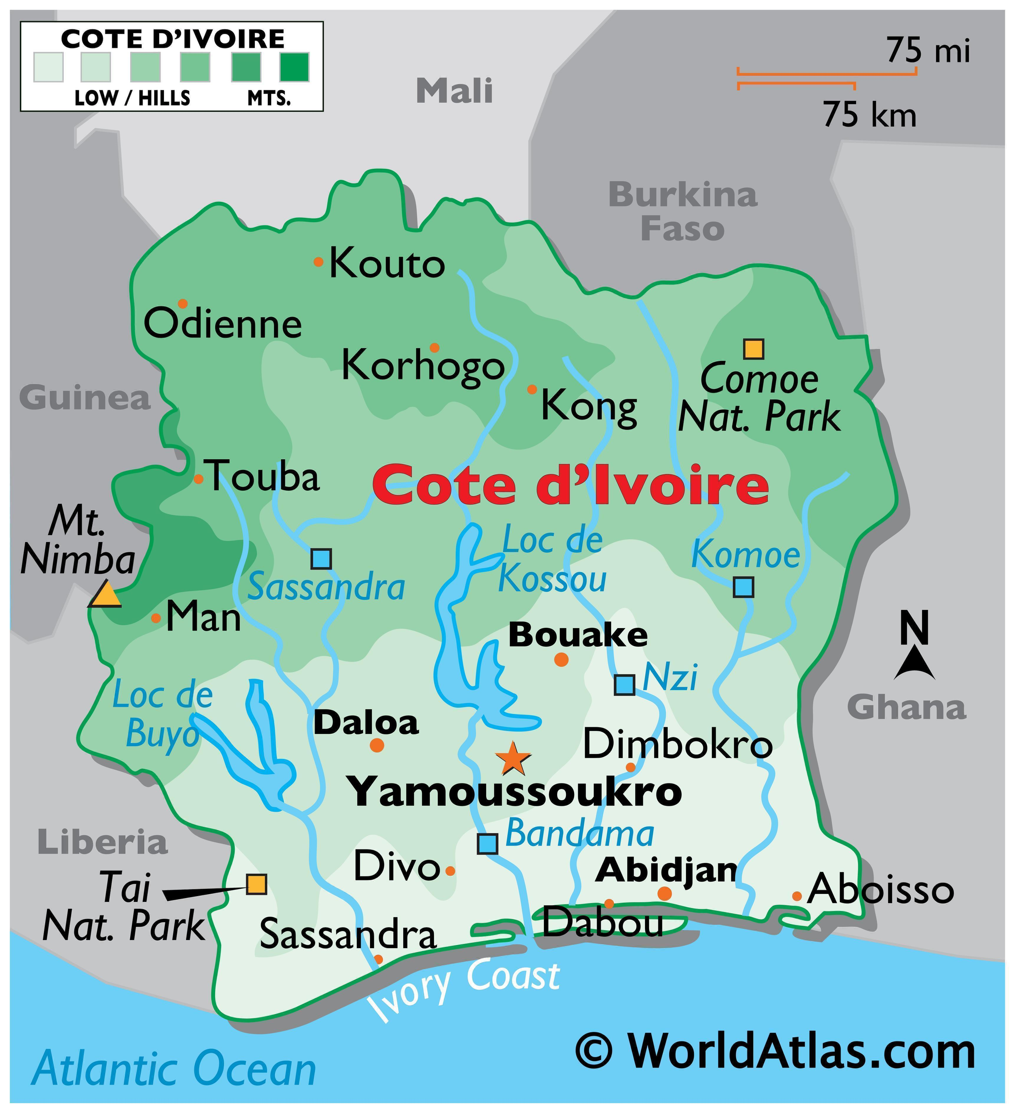 Physical Map of the Ivory Coast showing state boundaries, relief, major rivers, lakes, national parks, highest mountain, and important cities.