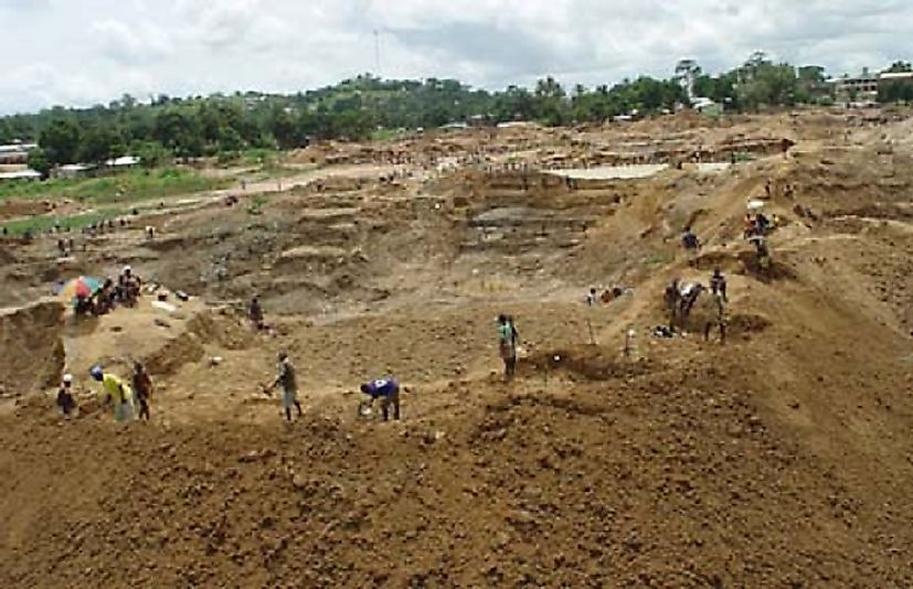 Diamond mining, such as shown here in the Kono District, is the source of Sierra Leone's most important export good.