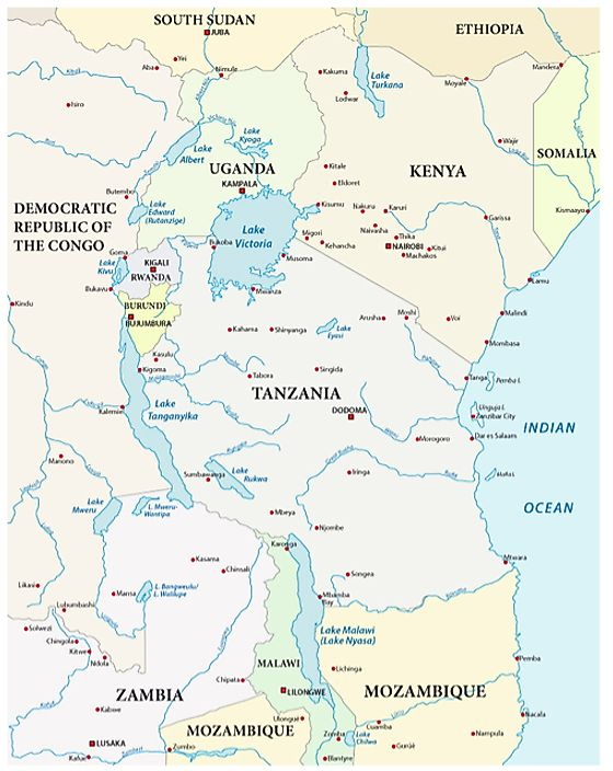 Lakes Of Africa Map.The Largest Lakes In Africa Worldatlas Com