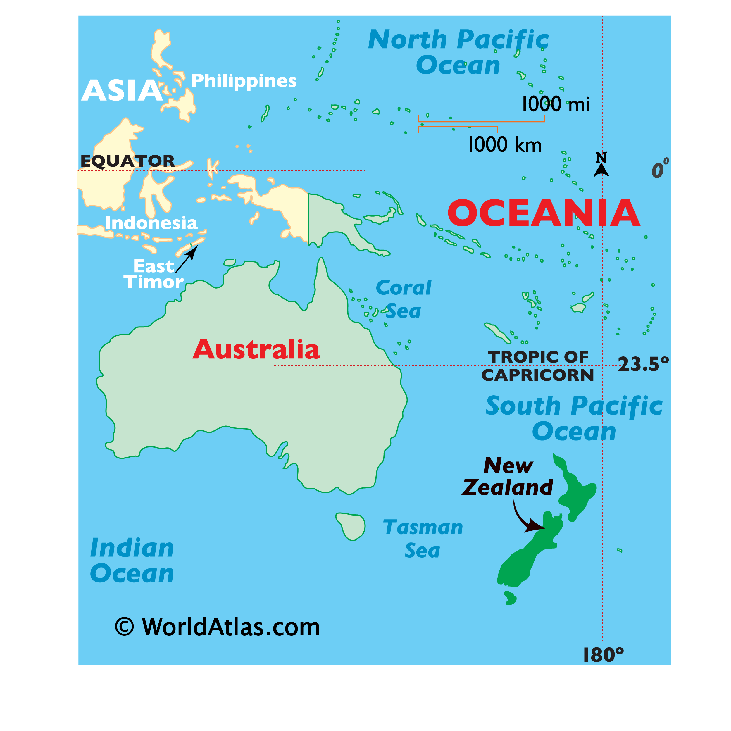 Map showing location of New Zealand in the world.