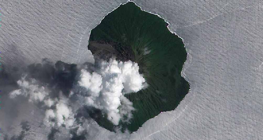 Volcanic activity on Tinakula as seen from outer space.