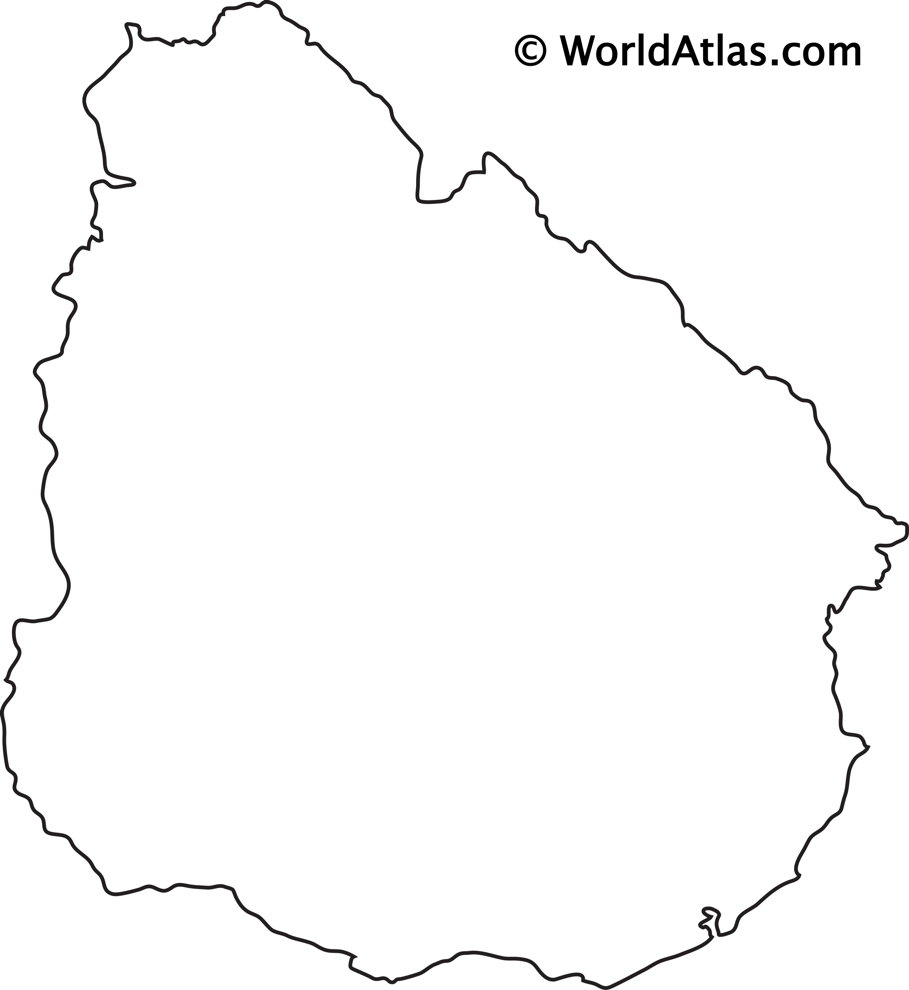 Blank Outline Map of Uruguay