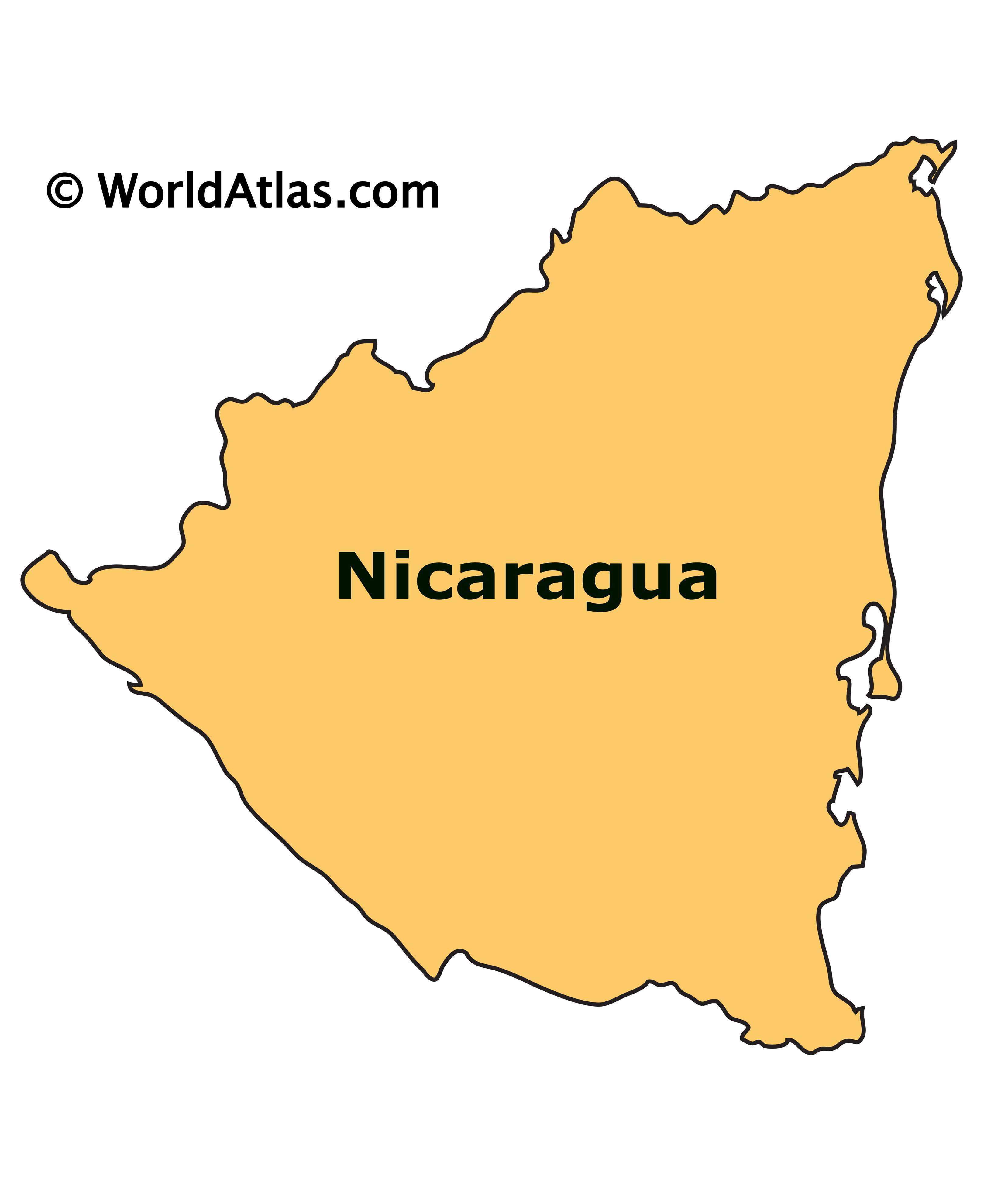 Outline Map of Nicaragua