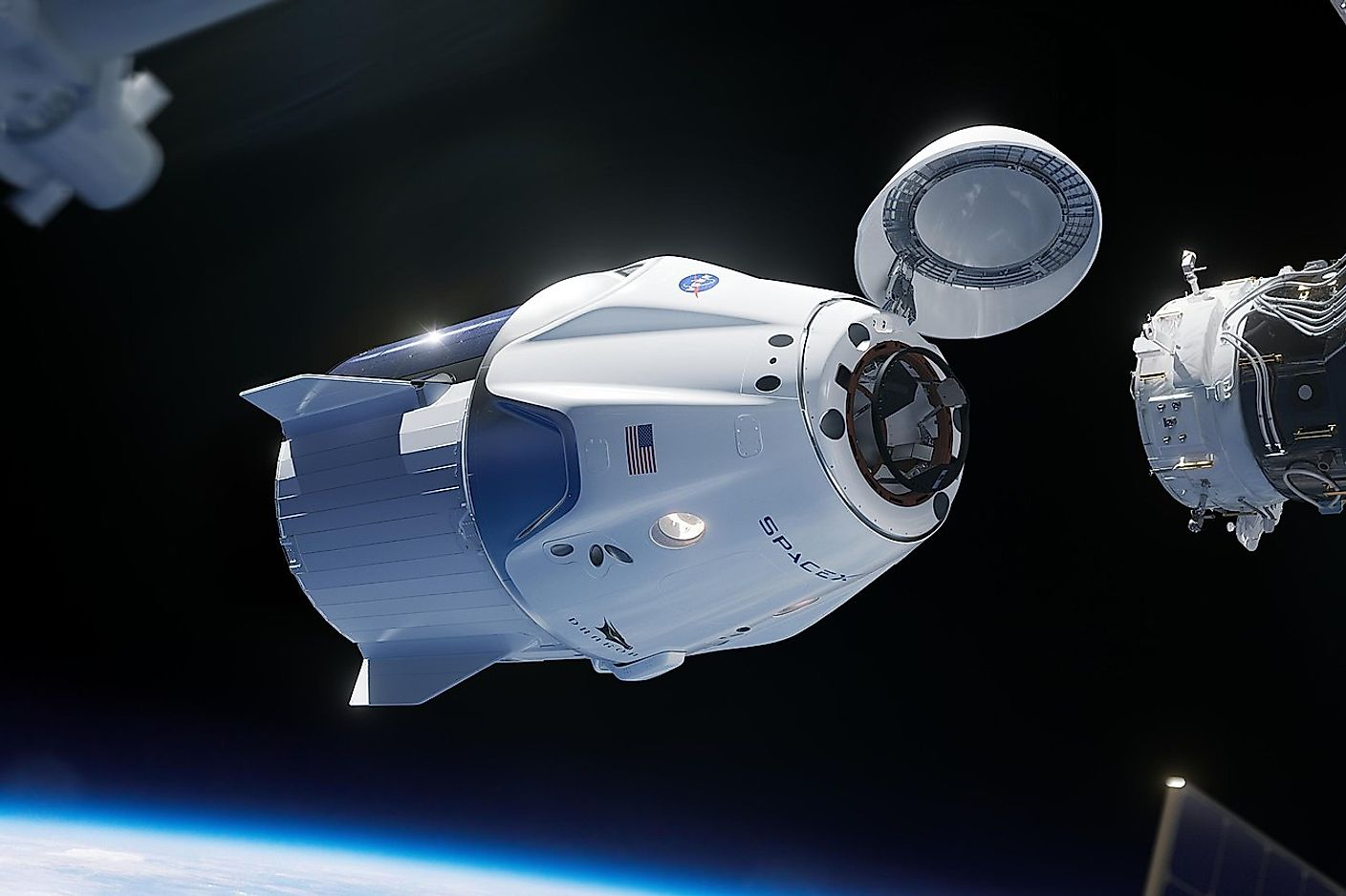 A rendering of a SpaceX Crew Dragon spacecraft approaching the International Space Station. Image credit: NASA/SpaceX/Public domain