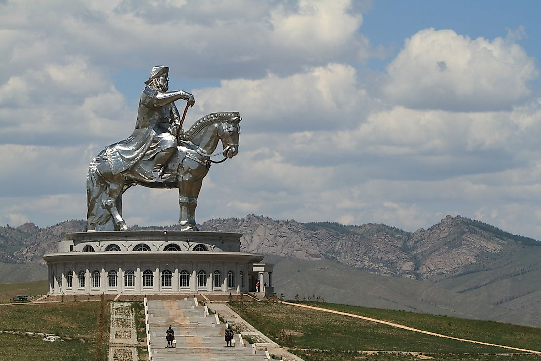 A monument of Genghis Khan in Mongolia. Khan led the vast Mongol Empire.