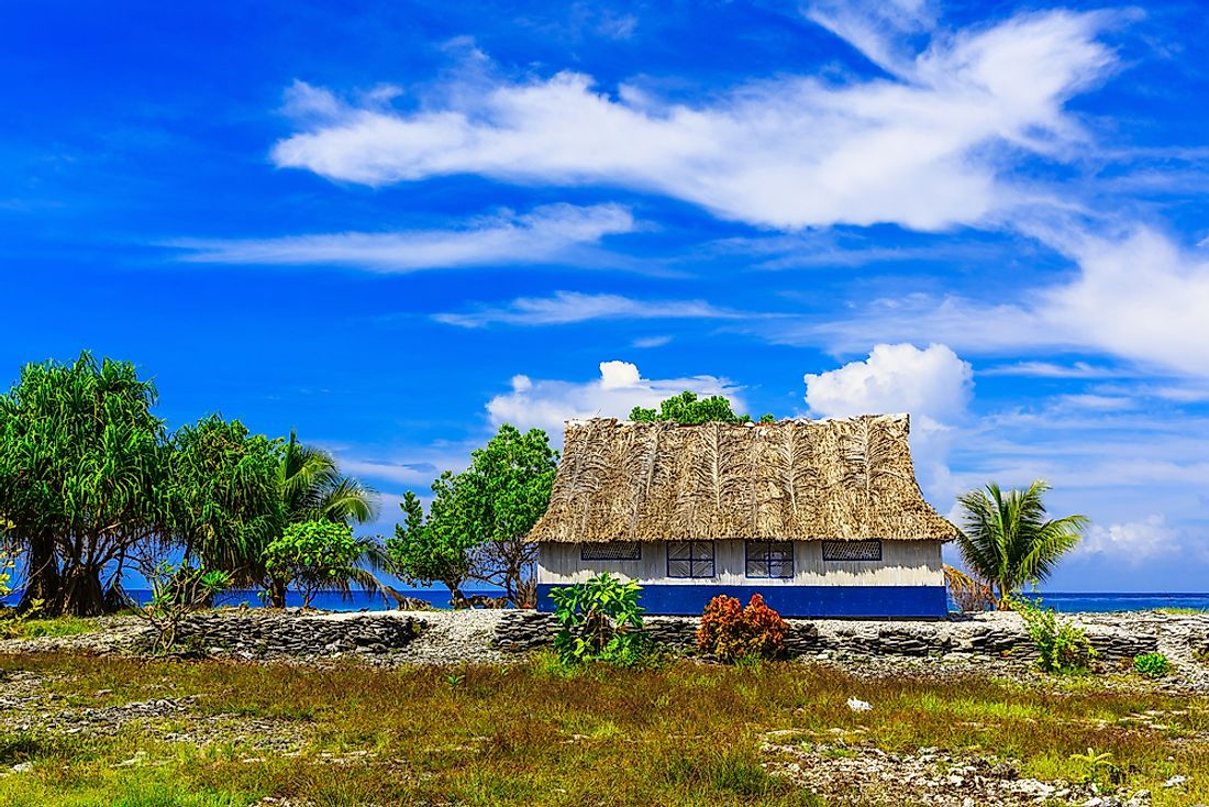 A traditional house in the Republic of Kiribati.