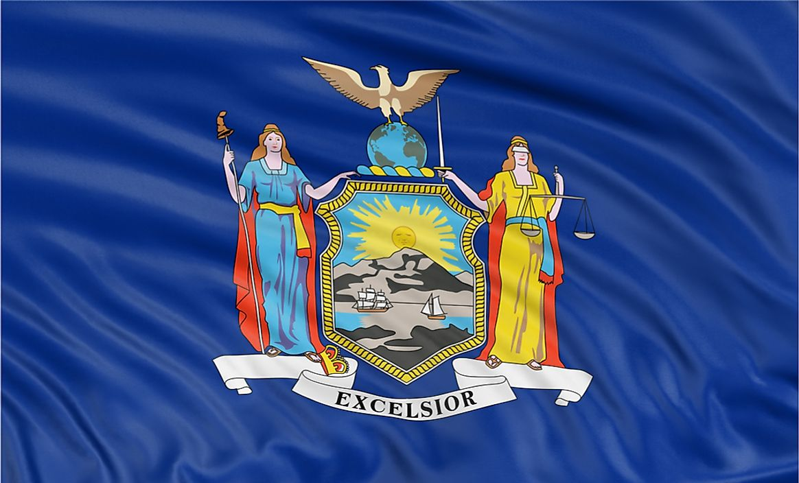 The state flag of New York.