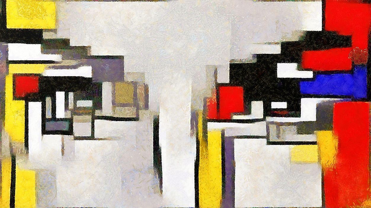 A painting showing the style of Piet Mondrian, a famous De Stijl artist.