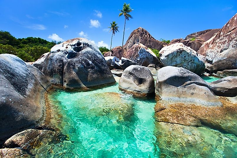 Turquoise waters along the Virgin Gorda beachfront.
